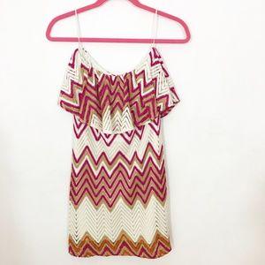 Judith March strapless chevron print dress M